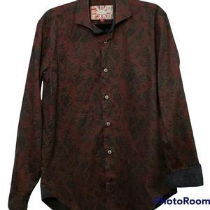 7 Downie St Flip Cuff Paisley Button Up Dress Shirt